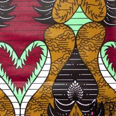 Wax Africain N° 711: Grand Motif Fantaisie Ocre Marron menthe