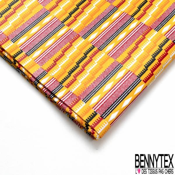Wax Africain N° 712: Motif Quadrillage Fantaisie Amérindien Multicolore
