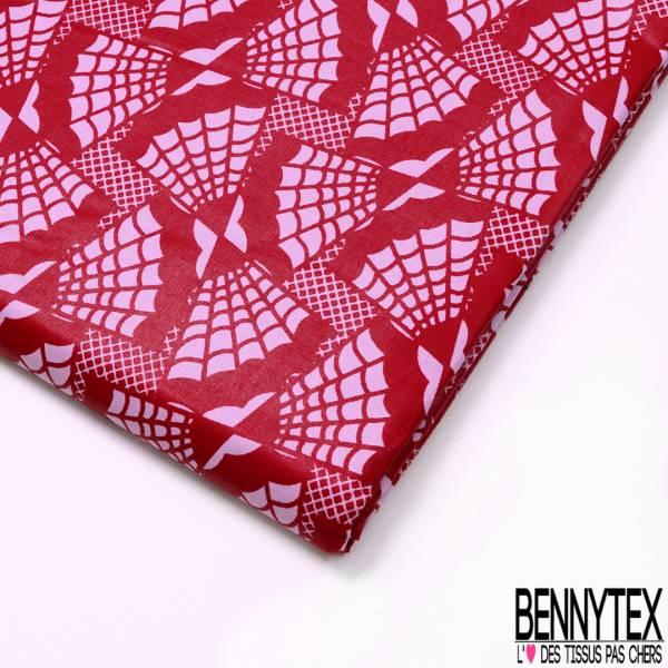 Wax Africain N° 713: Motif Toile d'Araignée Rose Rouge
