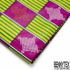 Wax Africain N° 717: Motif Carreaux Fushia Fantaisie