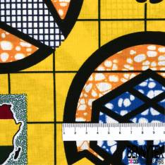 Wax Africain N° 722: Motif Afrique fond Jaune