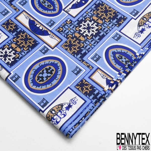 Wax Africain N° 734: Motif Fantaisie Carré Bleu fond Baroque