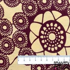 Wax Africain N° 735: Motif Fleur Fantaisie Orange Pastel fond Bordeaux