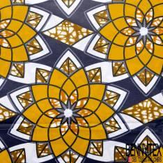 Wax Africain N° 746: Motif Fleur au Spirographe Jaune Orange fond Marbré