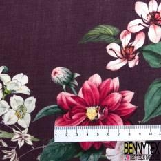 Fibranne Viscose Imprimé Rayure Fantaisie Verticale Florale Ecru Noir