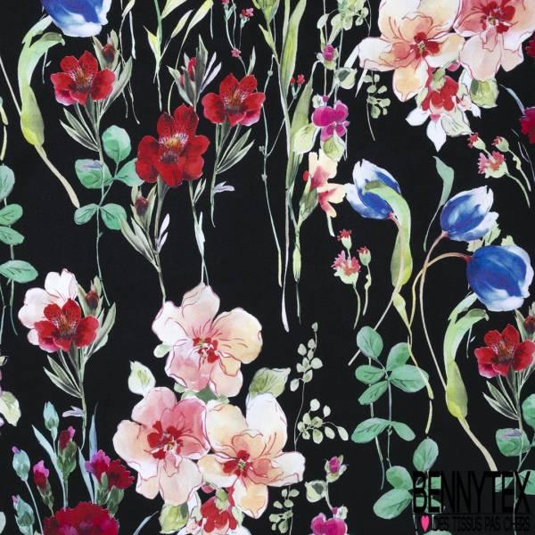 Fibranne Viscose Imprimé Tige et Fleur fond Noir