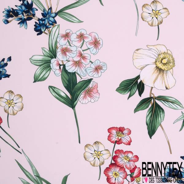 Crêpe Polyester Motif Floral fond Rose Dragées