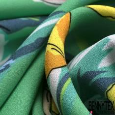 Crêpe Polyester Motif Floral fond Vert Menthe