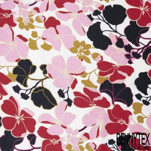 Satinette Polyester Imprimé Floral Japonisant Rouge Rose