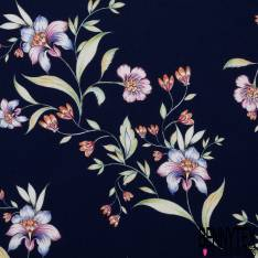Crêpe Polyester Motif grande Fleur fond Nuit