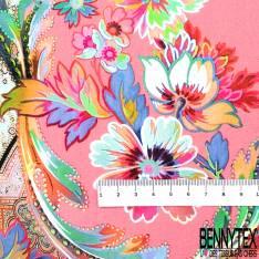 Crêpe Polyester Fluide Double Base Motif Cachemire Indien Multicolore