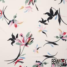 Satinette Polyester Imprimé Floral Naîf fond Crème