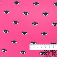 Crêpe Polyester Motif Oeil Noir fond Rose Malabar