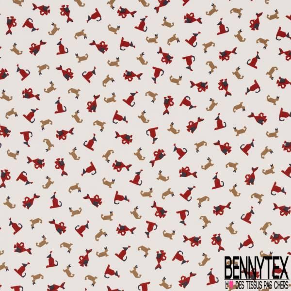 Crêpe Polyester Léger Fluide Motif Petit Chien Rigolo Stylisé fond Blanc Cassé