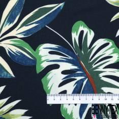 Satinette Polyester Imprimé Floral Japonisant fond Parme Perlé