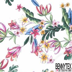 Coton semi Satiné Imprimé Floral Multicolore Printanière fond Ecru