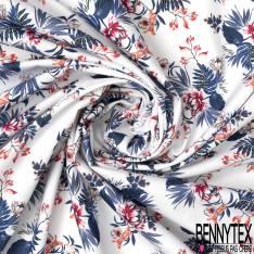 Coton Imprimé Bouquet Floral Bleu Rouge Esprit Japonisant fond Blanc