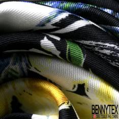 Satinette Polyester Imprimé Fleur et Feuille Jaune Bleu fond Noir