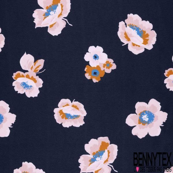 Satin Polyester Imprimépetite Fleur Stylisée fond Marine