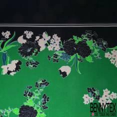 Satin Polyester Imprimé petite Fleur Stylisée fond Marine