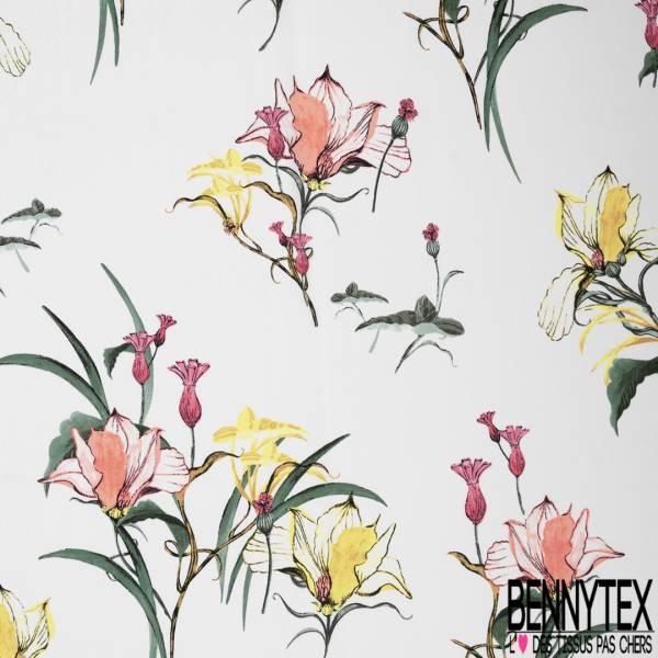 Crépon Polyester Motif Grosse Fleur Graphique Pastel fond Ecru