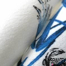 Satin Polyester Imprimé Fleur de Lotus Héron fond Blanc