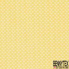 Coton Impression Motif Petit Croissant de Lune fond jaune