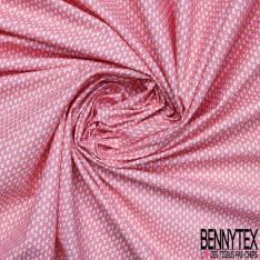 Coton Impression Motif Petit Croissant de Lune fond Rose