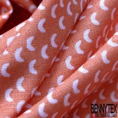 Coton Impression Motif Petit Croissant de Lune fond Orange Givré