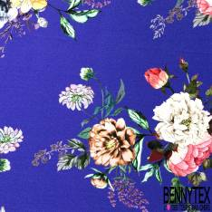Crêpe Polyester Epais Motif Grosse Fleur fond Bleu Roi