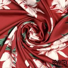 Crêpe Polyester Satiné Motif Fleur Blanche fond Brique