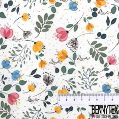 Coton Elasthanne Imprimé Petite Fleur Sauvage Oiseau fond Blanc