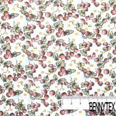 Voile de Coton Imprimé Fleur Blanche Feuille
