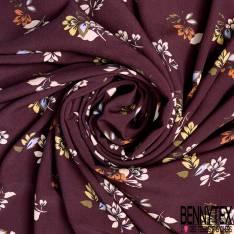 Crêpe Viscose Motif Bouquet de Feuille Vintage fond Bordeaux