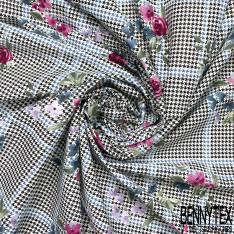 Coton Elasthanne Imprimé Prince de Galles Pied de Poule et Fleur