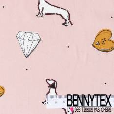 Fibranne Viscose Imprimé Basset Diamant et Coeur fond Rose Nude