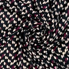 Polyester Coton Fluide Opaque Motif Tâche Mouchetée Crème Bordeaux fond Noir