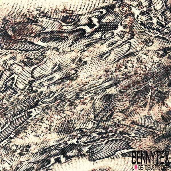 Crêpe Polyester Imprimé Mue de Serpent ton Maronné