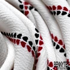 Crêpe Viscose Motif Rayure Verticale Fantaisie Rouge Noir fond Blanc Cassé