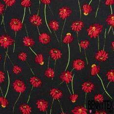 Crêpe Polyester Lourd Imprimé Fleur Rouge fond Noir