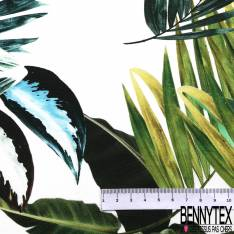 Coton Elasthanne Imprimé Grande Feuille Tropicale Verte fond Blanc