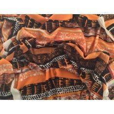 Javanaise Polyester Imprimé Corail Noir Orange fond Blanc Casse