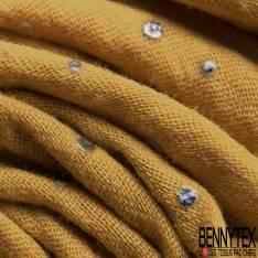 Coton Double Gaze Moutarde Pastille Relief Argent