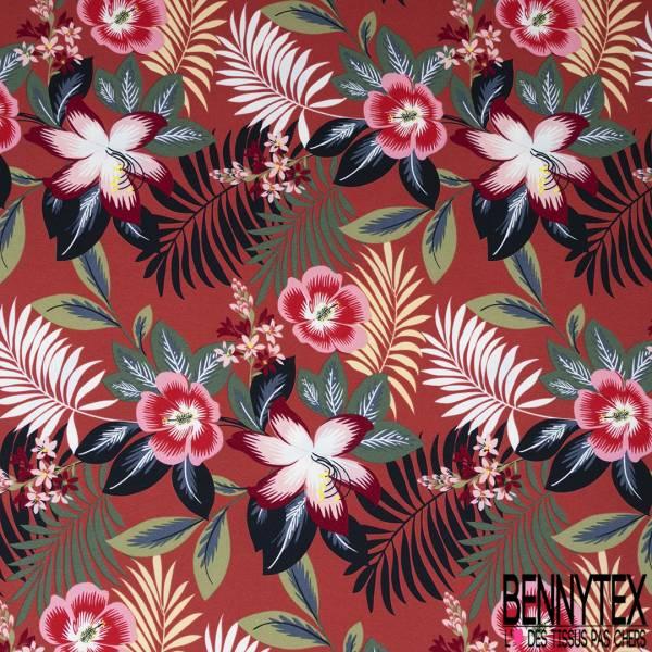 Crêpe Polyester Imprimé Motif Composition Floral Style papier Peint fond Blanc
