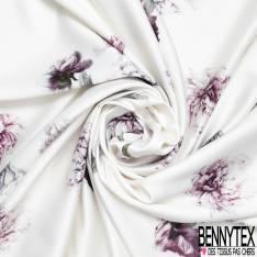 Crêpe Polyester Imprimé Grosse Pivoine Esprit Rétro fond Blanc Cassé