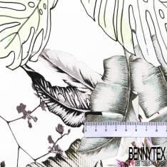 Crêpe Polyester Imprimé Simple Base Tigre dans la Forêt Tropicale fond Blanc