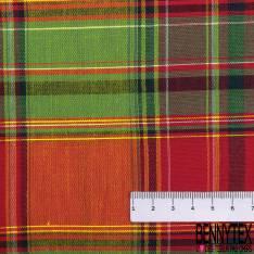 Coton Madras Imprimé Carreaux Noir Rouge Jaune Blanc