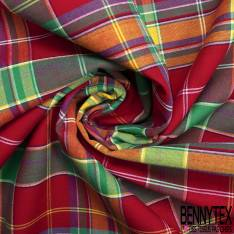 Coton Madras Imprimé Carreaux Bleu Roi Turquoise Jaune Rouge