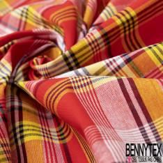 Coton Madras Imprimé Carreaux Rouge Jaune Noir Blanc