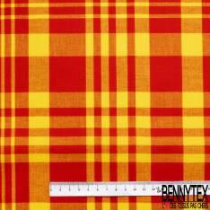 Coton Madras Imprimé Carreaux Rouge Jaune